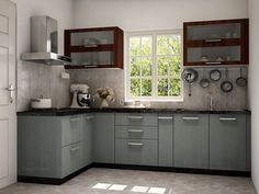 L-Shaped Krabi Modular Kitchen on CapriCoast is fulfilled by SpaceWood and comes with MDF cabinets, MDF shutter core and Membrane Matte finish in Irish Creame