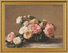 """Henri Fantin-Latour: Painting """"Roses dans une coupe - Roses in a Cup"""" (1882) in a frame"""