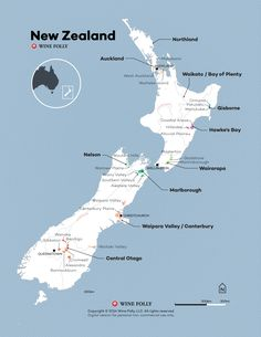 New Zealand Wine Map by Wine Folly