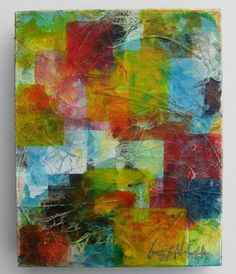 Textured canvas covered with squares of tissue paper and added texture of paint (sponged) on top?