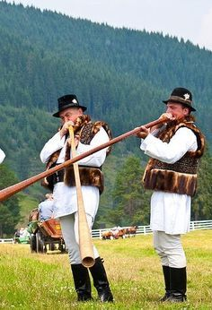 Trembita players in the Carpathian mountains. This is Ukraine