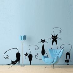 Black Cats Wall Sticker Removable Vinyl DIY Wall Decal Ideal For Any Room In the Home by EasyStickerscouk on Etsy https://www.etsy.com/listing/212136977/black-cats-wall-sticker-removable-vinyl