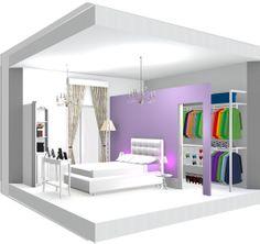 prospettiva camera con cabina armadio abitabile