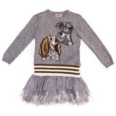 08dbba51b075 Monnalisa Bimba udsalg børnetøj Grå 2-delt strik og kjole sæt med Lady og  Vagabonden