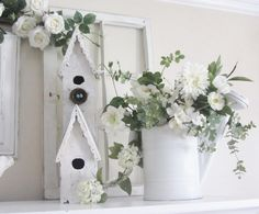 Junk Chic Cottage  Great summer mantel idea, bird houses buckets and windowpanes ;)
