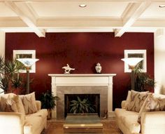 10 Free Clever Hacks: Living Room Remodel With Fireplace Decor living room remodel on a budget gray walls.Living Room Remodel With Fireplace Decor living room remodel before and after awesome.Small Living Room Remodel Tips. Maroon Walls, Burgundy Walls, Burgundy Living Room, Living Room Red, Living Room With Fireplace, Living Room Colors, Living Room Paint, Living Room Interior, Fireplace Redo