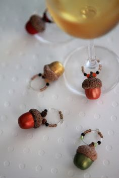 Acorn Wine Charms from Alicia Policia