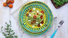 Spaghetti con pomodorini confit, feta e pesto leggero di rucola