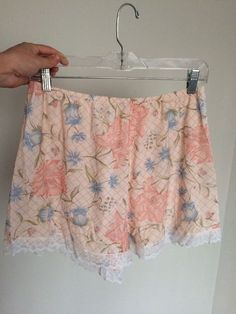 8e631841f37a Vintage 50s Philmaid Tap Nylon And Lace Floral Pink & Blue Granny  Panties Large #