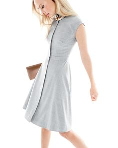 JUN '15 Style Guide: J.Crew women's cap-sleeve dress in Super 120s wool and leather envelope clutch.