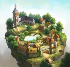 Medieval Buildings And Towns For Concept Art Inspiration Fantasy World Map, Fantasy Town, Fantasy Places, Final Fantasy, Concept Art Gallery, Fantasy Concept Art, Game Concept Art, Environment Concept Art, Environment Design