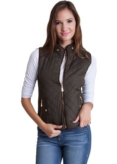 Quilted Padded Zipper Vest J1409OL, clothing, clothes, womens clothing, jeans, tops, womens dress