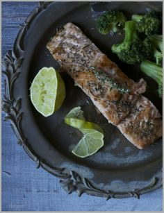 herb roasted salmon with lime.