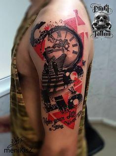 30 Unique Trash Polka Tattoo Ideas For Men Trash Polka Tattoos, Tattoo Trash, Rib Tattoos For Guys, Small Rib Tattoos, Forarm Tattoos, Top Tattoos, Trash Polka Design, Tattoo Sleeve Designs, Sleeve Tattoos