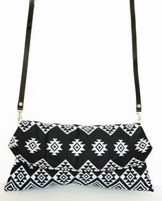Black and White Aztec Embroidered Cross body Bag with Removable Strap