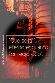 CAMPANHA RECIPROCIDADE JÁ! Seja recíproco com quem te faz bem, esqueça da beleza e do status e compartilhe com quem quer estar ao seu lado, não se iluda com aquilo que não pode ser concretizado e busque o que pode te fazer crescer e proteger, talvez com uma pitada de cada ingrediente desses as pessoas sintam-se mais IMPORTANTES um para o outro.  @felipe.carlotto.cb #felipecarlotto