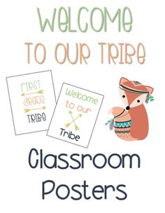Welcome To Our Tribe - Classroom Posters - Tribal animals and arrows. Navy, mint, coral, gold