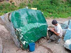 Jewelry History: The Composition of Jade    Nephrite boulder in Canada. What an amazing feeling to be standing next to such beauty!