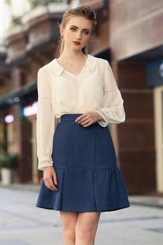 Jw Fashion, Office Fashion, Work Fashion, Fashion Outfits, Womens Fashion, Beautiful Dresses, Nice Dresses, White Short Sleeve Tops, Beautiful Girl Photo