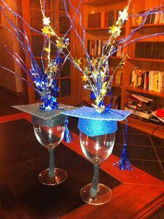 DIY Grad Party Ideas | Teran's graduation centerpiece ( place a battery powered tea light ...