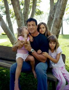 Sly with his daughters in Vanity Fair