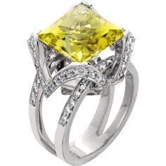 Brilliant yellow beryl princess cut with diamonds in 14kt white gold Fashion ring www.jensenjewelers.com