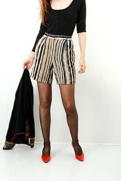 Linen Shorts / Women Shorts / Striped Shorts / Vintage Linen Shorts / Summer Shorts / High Waist Shorts / Size S / EU36 / UK10