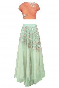 Peach 3D Floral Applique Work Crop Top with Mint Green Skirt #kanishkajaipur #shopnow #ppus #happyshopping