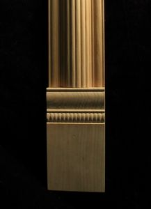 Carved wood column pilaster - Acanthus Capital with Reeded Insert and Base