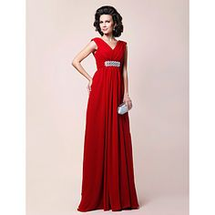 Ball gown? Sheath/Column V-neck Floor-length Draped Chiffon Mother of the Bride Dress - USD $ 195.99