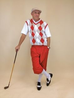 Men s Golf Knicker Outfit - White Knickers with Red Cap and Red White  Argyle Vest 54ad2e2b6