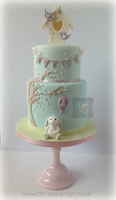 I like the colour scheme and it has a good level of detail. I like the fact that birds are holding the bunting (could use butterflies instead) and the movement in the design. Would be nice if the balloons were being 'swept' across the cake.