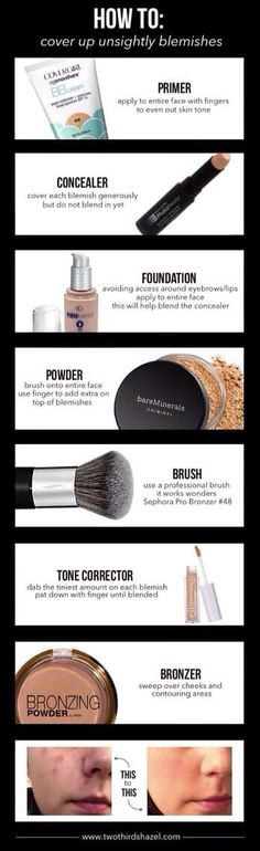 How to cover blemishes with make up (BB cream, concealer, foundation, powder, and tone corrector)
