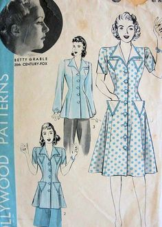 1940 BETTY GRABLE DRESS or TUNIC SMOCK BLOUSE PATTERN PRINCESS STYLE HOLLYWOOD PATTERNS 766