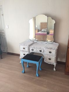 Ball and Claw dressing table done with white wash and blue acrylic. Our mission for the weekend. Should have taken a before pic.