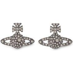 Vivienne Westwood Jewellery Grace orb sterling silver stud earrings (292.325 COP) ❤ liked on Polyvore featuring jewelry, earrings, vivienne westwood earrings, initial jewelry, sterling silver stud earrings, butterfly earrings and stud earrings