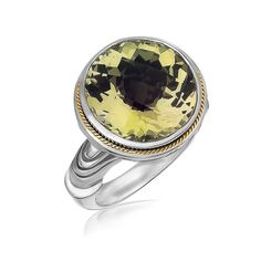 18K Yellow Gold and Sterling Silver Round Milgrained Lemon Quartz Ring