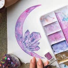 Watercolor Pastel Daydreams / Moon Art / Crystal by JessWeymouth Watercolor Print, Watercolor Paintings, Watercolor Moon, Pastel Watercolor, Crystal Drawing, Desenho Tattoo, Moon Art, Art Inspo, Painting & Drawing