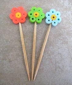 Bento picks using perler beads. Great idea.