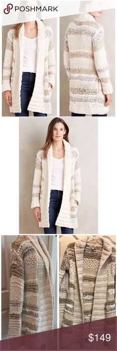 Anthropologie Rockwood Cardigan Handknit byDollie Sold exclusively online. Originally $398 now sold out Size XS/S. Would easily fit most sizes due to open front and stretchy knit.New without tags.Never worn. No holes, stains, tag has been marked through to prevent returns. A soft mixed knit in a lengthy silhouette primed for fireside coziness. • Cotton, acrylic, nylon sweater-knit • Lined pockets Approx measurements lying flat • 31 inches long from shoulder to hem • 29 inch long sleeves  •…