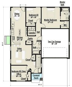 Ranch Home Plan with Open Living Area - 18274BE   Architectural Designs - House Plans