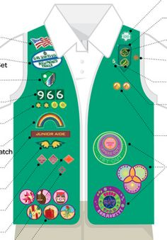 Here's the GS Junior uniform vest. Note the My Promise, My Faith award pins below the Brownie wings. Read about requirements for this award in the Girl's Guide to Girl Scouting.