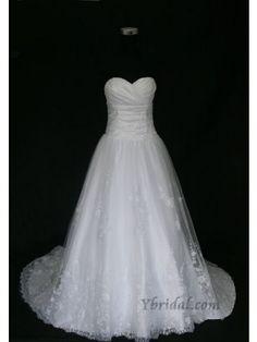 Ball Gown Sweetheart Chapel Train Organza Lace Wedding Dress WBG02818