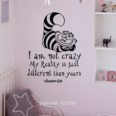 Cheap room decor purple, Buy Quality room decor wall directly from China room decor canvas Suppliers: 			Alice In Wonderland Quotes Cheshire Cat Wall Art Sticker Decal Home DIY Decoration Wall Mural Removable Room Decor St