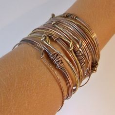 Stackable Mixed Metal Bangle Bracelet Set Sterling by StoneDelite