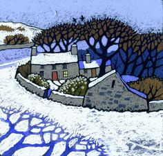Lleuad Gaeaf by Chris Neale, Welsh, landscape artist--I love the blue tree shadows