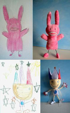 http://www.childsown.com/    This company turns children's drawings into stuffed animals.