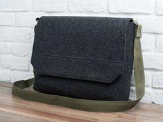 Felt laptop bag laptop messenger MacBook bag by GopherHandmade