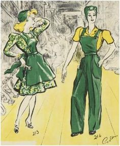 """This poster, """"Factory Fashion Notes"""" shows which clothes were ..."""