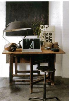 Home, office, workspace, desk, vintage Industrial Interior Design, Industrial House, Industrial Interiors, Home Interior, Interior Architecture, Industrial Workspace, Modern Industrial, Vintage Industrial, Industrial Lamps